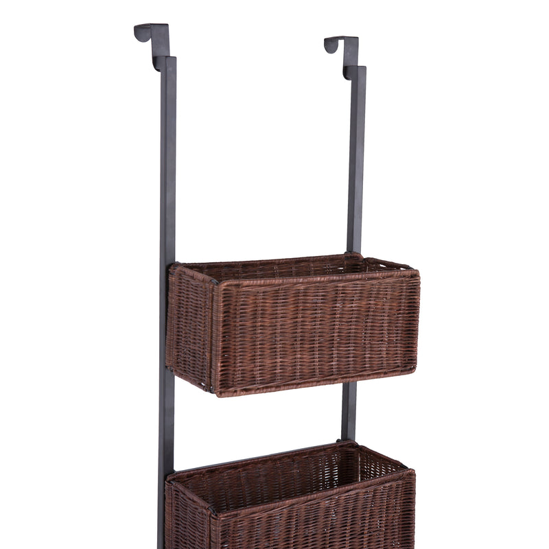 Over-The-Door 3-Tier Basket Storage - front view, left angle - detail of basket