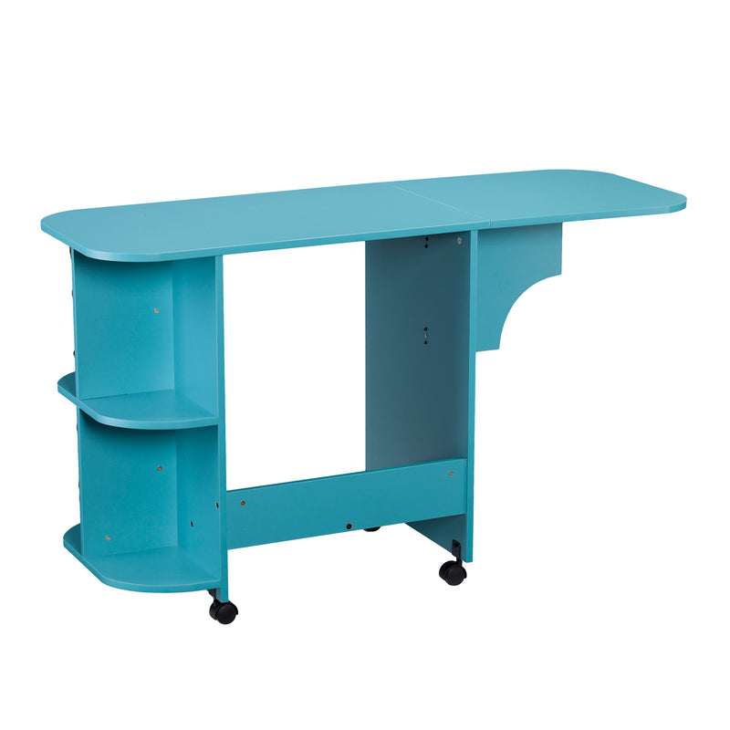 Turquoise Expandable Rolling Sewing Table/Craft Station - left angle, back view - arm out