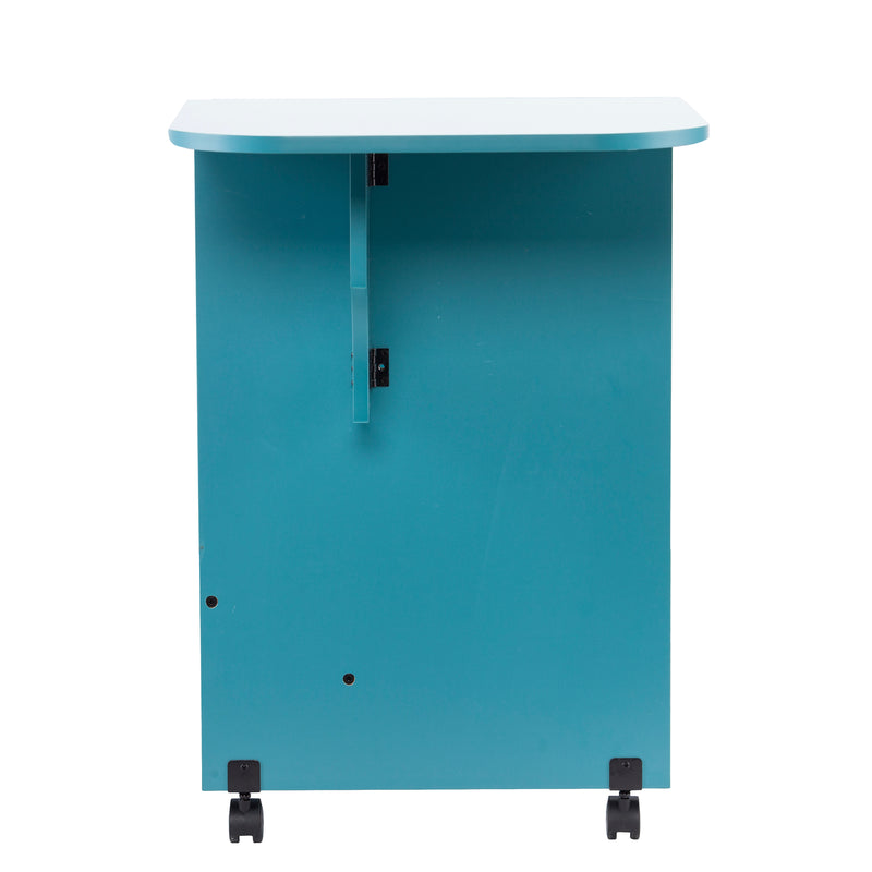 Turquoise Expandable Rolling Sewing Table/Craft Station - side view - arm up
