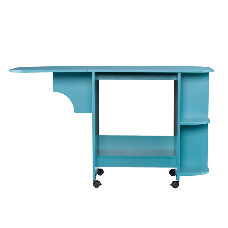 Turquoise Expandable Rolling Sewing Table/Craft Station - front view, arm out