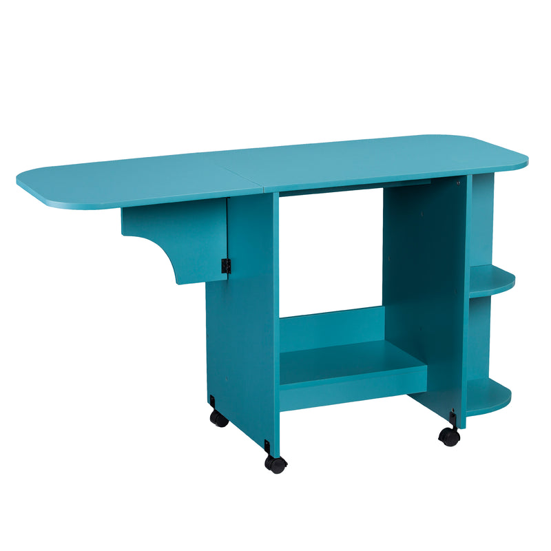 Turquoise Expandable Rolling Sewing Table/Craft Station - front view, left angle - arm out