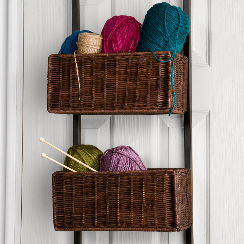 Over-The-Door 3-Tier Basket Storage - lifestyle photo - close up of baskets filled with yarn