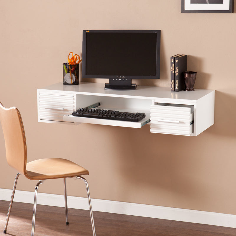 Simon Wall Mount Desk - lifestyle photo - shown with PC and desk chair