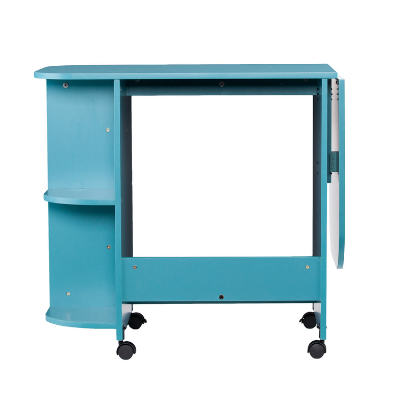 Turquoise Expandable Rolling Sewing Table/Craft Station - back view - arm down