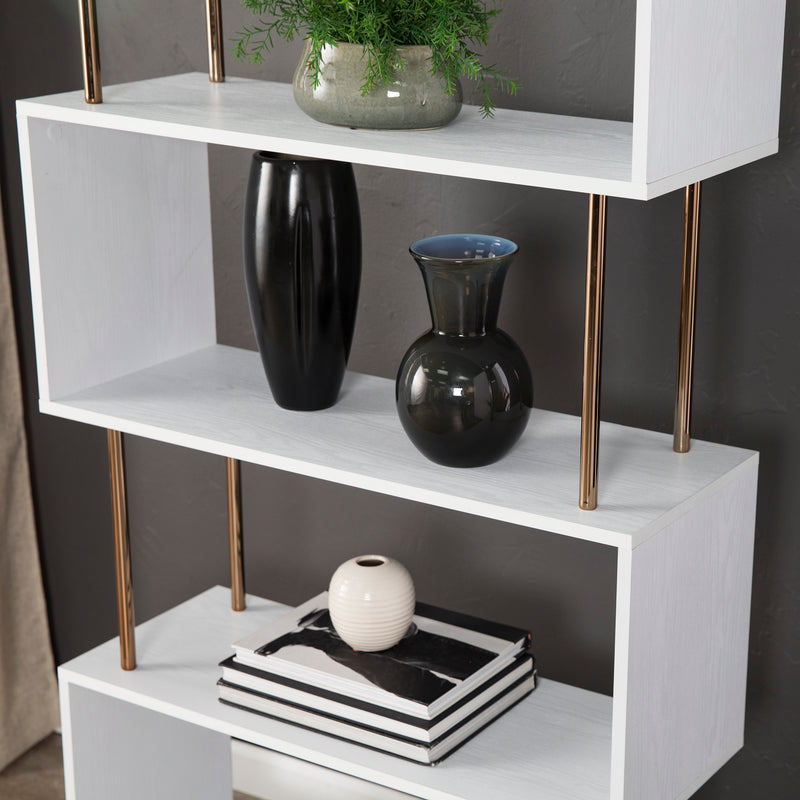 Detail photo of the Beckerman Asymmetrical Etagere. Shows 3 shelves with champagne accents  with books and vases gold accents.