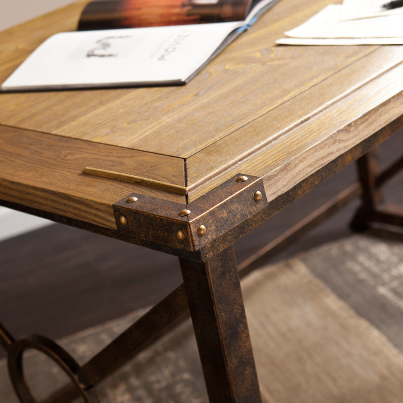 Knightley Tilt-Top Drafting Table - lifestyle photo - detail photo of wood grain and metal detail