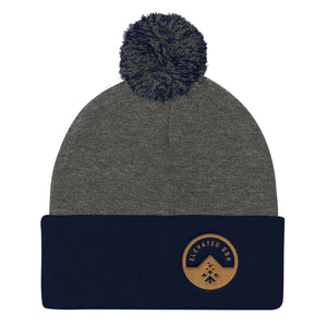 Fuzzy top perspective logo Knit Cap (Gender Neutral) - Elevated Oak