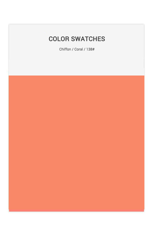 Coral Color Swatches for Chiffon Bridesmaid Dresses