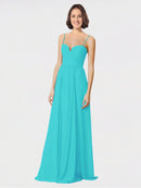 Mila Queen Krista Bridesmaid Dress Aqua - A-Line Sweetheart Spaghetti Straps Long Bridesmaid Gown Krista in Aqua