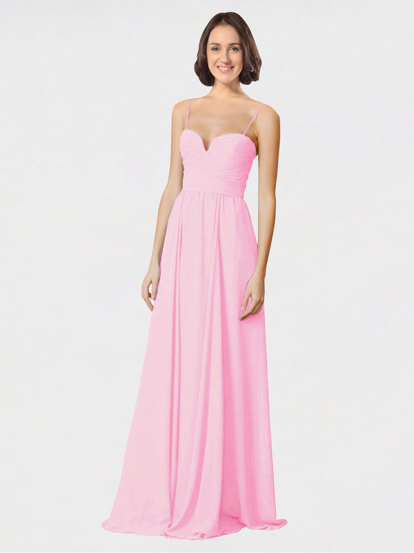 Mila Queen Krista Bridesmaid Dress Barely Pink - A-Line Sweetheart Spaghetti Straps Long Bridesmaid Gown Krista in Barely Pink