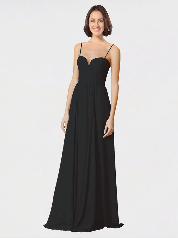 Mila Queen Krista Bridesmaid Dress Black - A-Line Sweetheart Spaghetti Straps Long Bridesmaid Gown Krista in Black