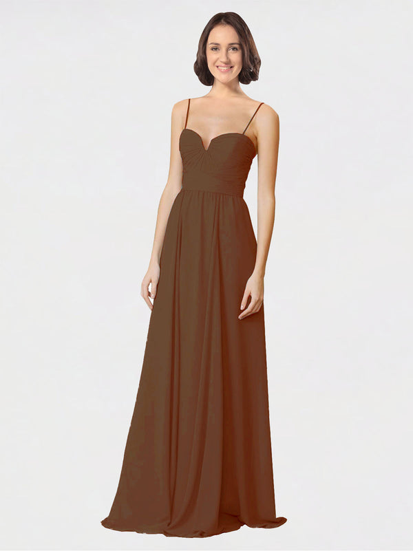Mila Queen Krista Bridesmaid Dress Brown - A-Line Sweetheart Spaghetti Straps Long Bridesmaid Gown Krista in Brown