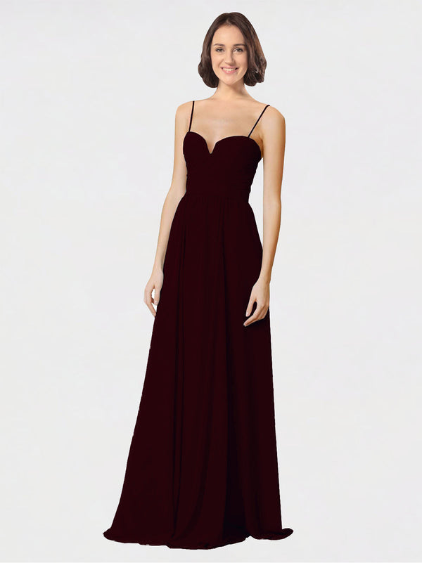 Mila Queen Krista Bridesmaid Dress Burgundy Gold - A-Line Sweetheart Spaghetti Straps Long Bridesmaid Gown Krista in Burgundy Gold