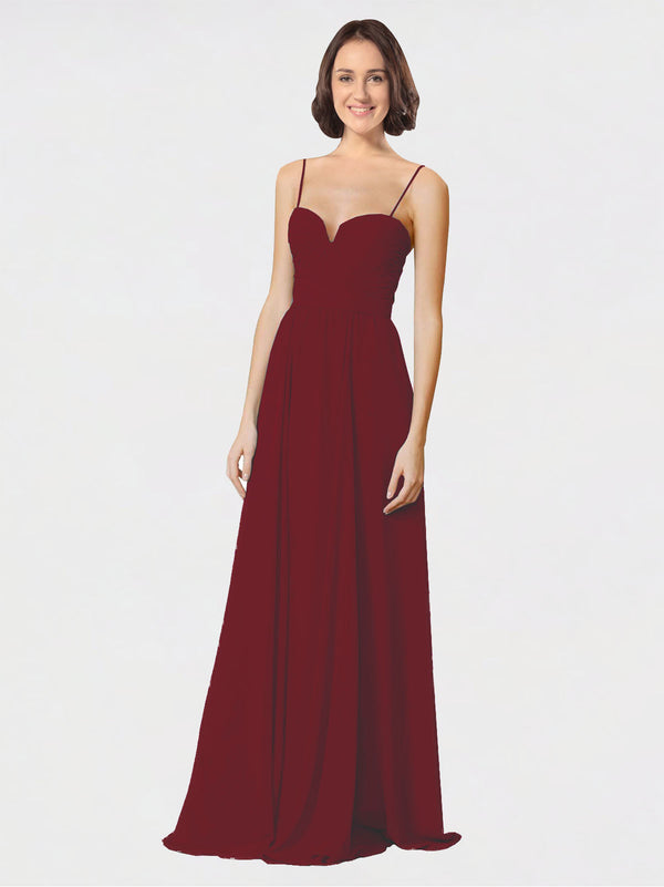 Mila Queen Krista Bridesmaid Dress Burgundy - A-Line Sweetheart Spaghetti Straps Long Bridesmaid Gown Krista in Burgundy