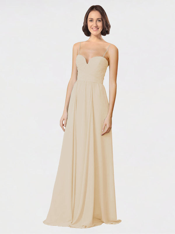 Mila Queen Krista Bridesmaid Dress Champagne - A-Line Sweetheart Spaghetti Straps Long Bridesmaid Gown Krista in Champagne