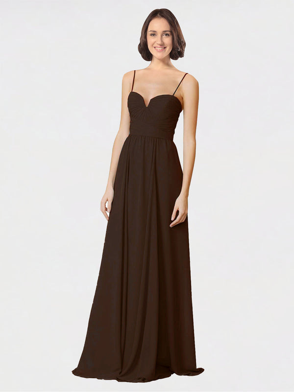 Mila Queen Krista Bridesmaid Dress Chocolate - A-Line Sweetheart Spaghetti Straps Long Bridesmaid Gown Krista in Chocolate
