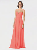 Mila Queen Krista Bridesmaid Dress Coral - A-Line Sweetheart Spaghetti Straps Long Bridesmaid Gown Krista in Coral