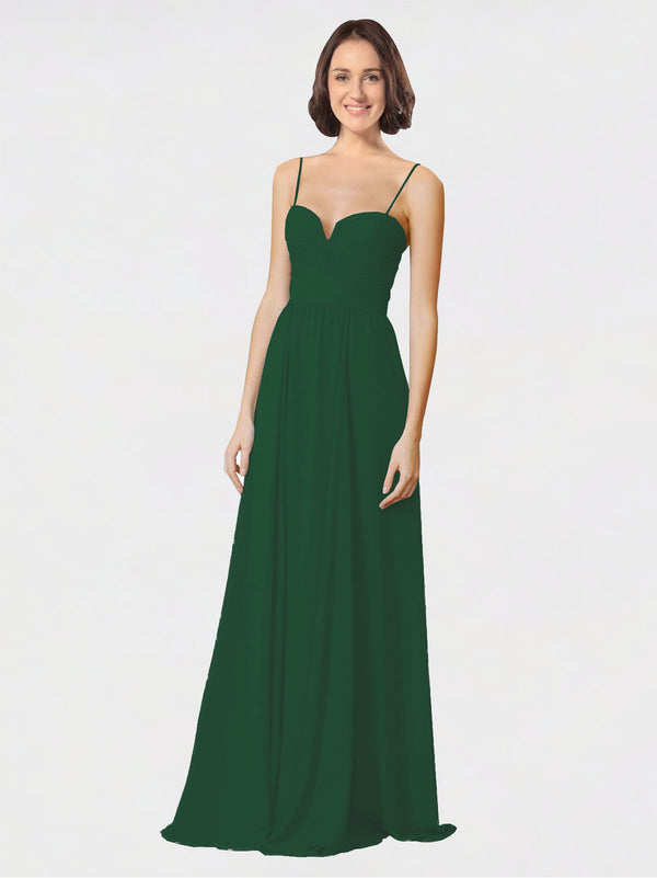 Mila Queen Krista Bridesmaid Dress Dark Green - A-Line Sweetheart Spaghetti Straps Long Bridesmaid Gown Krista in Dark Green