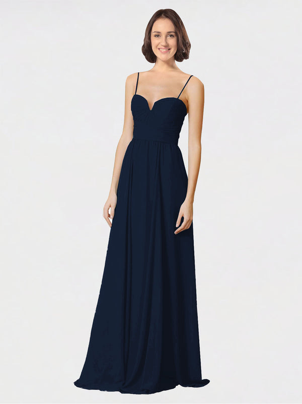 Mila Queen Krista Bridesmaid Dress Dark Navy - A-Line Sweetheart Spaghetti Straps Long Bridesmaid Gown Krista in Dark Navy