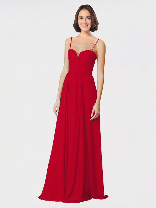 Mila Queen Krista Bridesmaid Dress Dark Red - A-Line Sweetheart Spaghetti Straps Long Bridesmaid Gown Krista in Dark Red