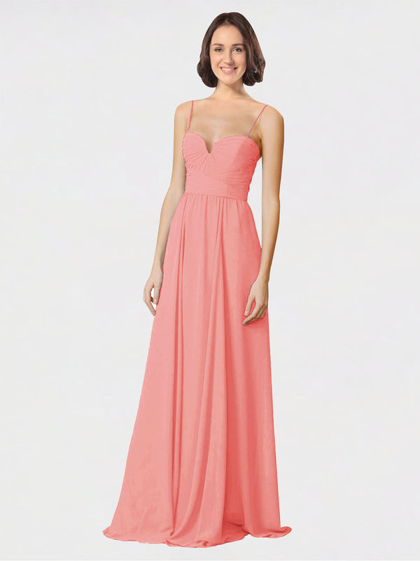 Mila Queen Krista Bridesmaid Dress Desert Rose - A-Line Sweetheart Spaghetti Straps Long Bridesmaid Gown Krista in Desert Rose
