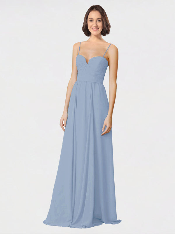 Mila Queen Krista Bridesmaid Dress Dusty Blue - A-Line Sweetheart Spaghetti Straps Long Bridesmaid Gown Krista in Dusty Blue