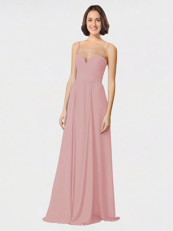 Mila Queen Krista Bridesmaid Dress Dusty Pink - A-Line Sweetheart Spaghetti Straps Long Bridesmaid Gown Krista in Dusty Pink
