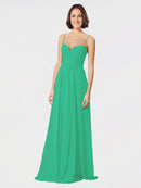 Mila Queen Krista Bridesmaid Dress Emerald Green - A-Line Sweetheart Spaghetti Straps Long Bridesmaid Gown Krista in Emerald Green