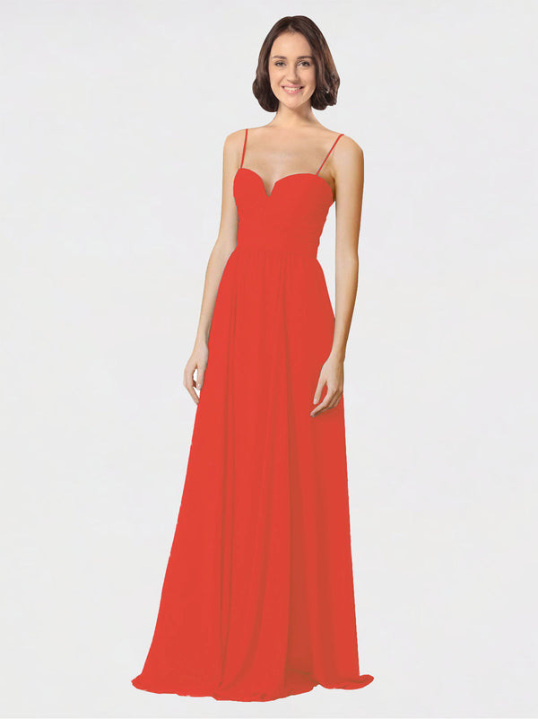 Mila Queen Krista Bridesmaid Dress Firecracker - A-Line Sweetheart Spaghetti Straps Long Bridesmaid Gown Krista in Firecracker