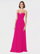 Mila Queen Krista Bridesmaid Dress Fuchsia - A-Line Sweetheart Spaghetti Straps Long Bridesmaid Gown Krista in Fuchsia
