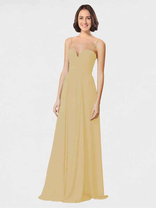 Mila Queen Krista Bridesmaid Dress Gold - A-Line Sweetheart Spaghetti Straps Long Bridesmaid Gown Krista in Gold