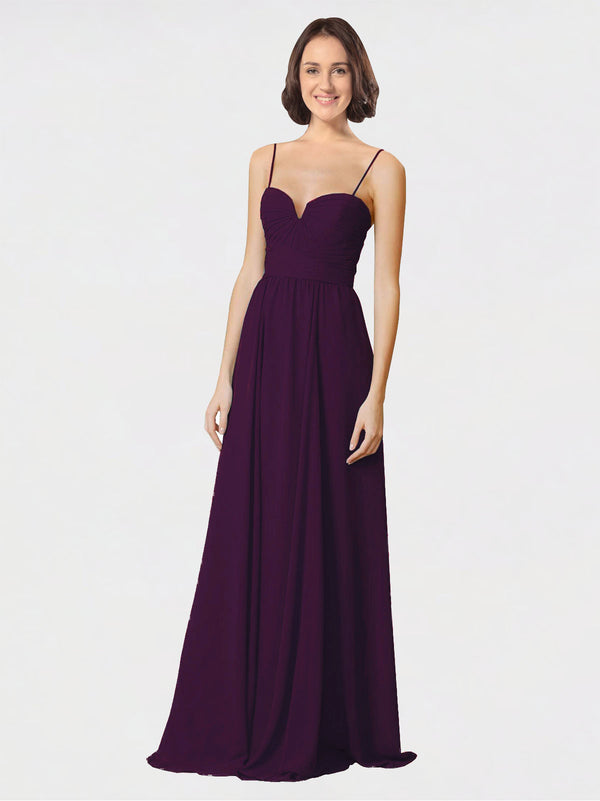 Mila Queen Krista Bridesmaid Dress Grape - A-Line Sweetheart Spaghetti Straps Long Bridesmaid Gown Krista in Grape