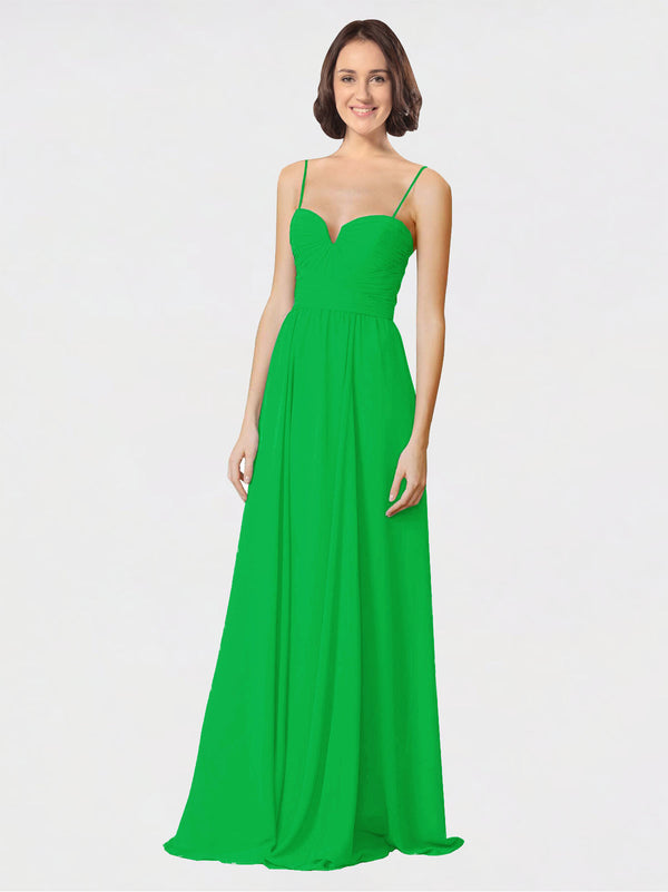 Mila Queen Krista Bridesmaid Dress Green - A-Line Sweetheart Spaghetti Straps Long Bridesmaid Gown Krista in Green