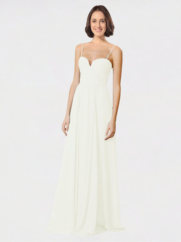 Mila Queen Krista Bridesmaid Dress Ivory - A-Line Sweetheart Spaghetti Straps Long Bridesmaid Gown Krista in Ivory