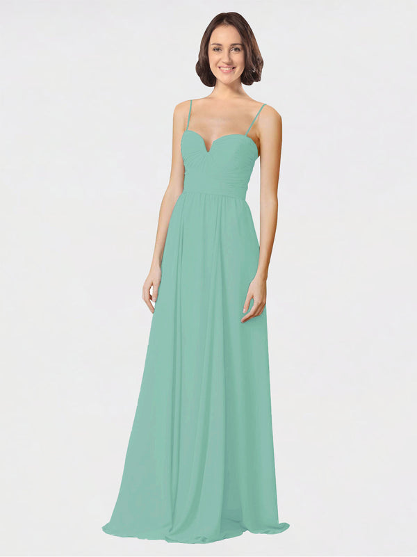 Mila Queen Krista Bridesmaid Dress Jade - A-Line Sweetheart Spaghetti Straps Long Bridesmaid Gown Krista in Jade
