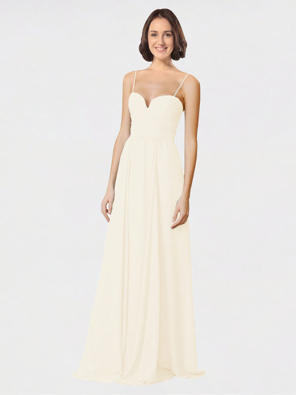 Mila Queen Krista Bridesmaid Dress Light Champagne - A-Line Sweetheart Spaghetti Straps Long Bridesmaid Gown Krista in Light Champagne