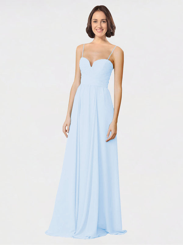 Mila Queen Krista Bridesmaid Dress Light Sky Blue - A-Line Sweetheart Spaghetti Straps Long Bridesmaid Gown Krista in Light Sky Blue