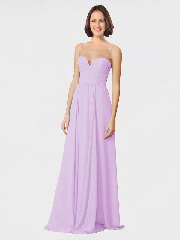 Mila Queen Krista Bridesmaid Dress Lilac - A-Line Sweetheart Spaghetti Straps Long Bridesmaid Gown Krista in Lilac