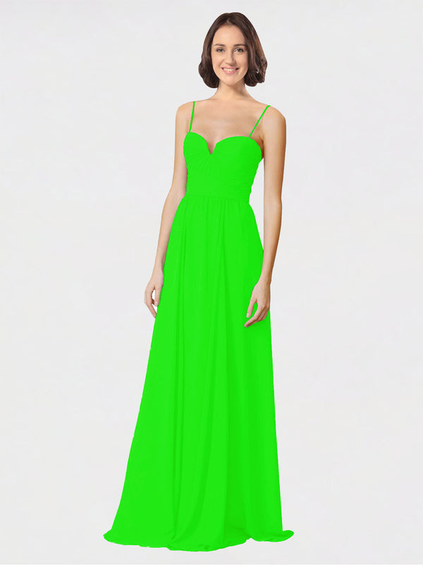 Mila Queen Krista Bridesmaid Dress Lime Green - A-Line Sweetheart Spaghetti Straps Long Bridesmaid Gown Krista in Lime Green
