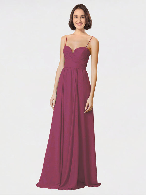 Mila Queen Krista Bridesmaid Dress Mauve Taupe - A-Line Sweetheart Spaghetti Straps Long Bridesmaid Gown Krista in Mauve Taupe