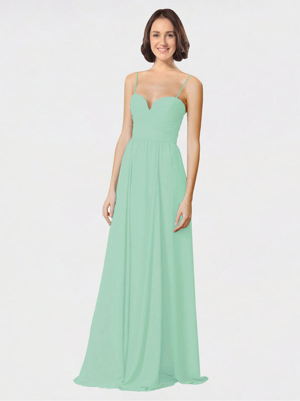 Mila Queen Krista Bridesmaid Dress Mint Green - A-Line Sweetheart Spaghetti Straps Long Bridesmaid Gown Krista in Mint Green