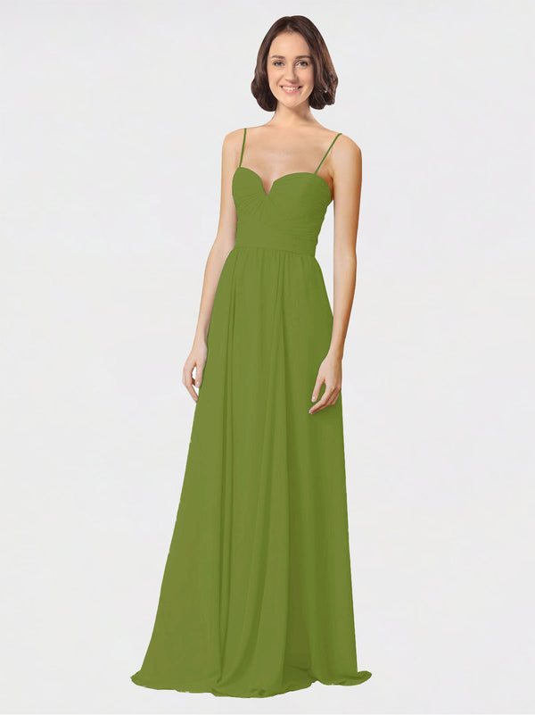 Mila Queen Krista Bridesmaid Dress Olive Green - A-Line Sweetheart Spaghetti Straps Long Bridesmaid Gown Krista in Olive Green