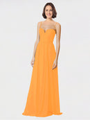 Mila Queen Krista Bridesmaid Dress Orange - A-Line Sweetheart Spaghetti Straps Long Bridesmaid Gown Krista in Orange
