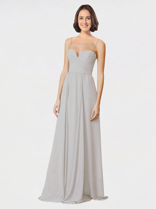Mila Queen Krista Bridesmaid Dress Oyster Silver - A-Line Sweetheart Spaghetti Straps Long Bridesmaid Gown Krista in Oyster Silver