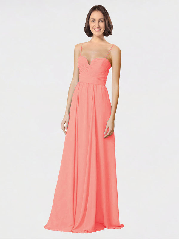 Mila Queen Krista Bridesmaid Dress Peach - A-Line Sweetheart Spaghetti Straps Long Bridesmaid Gown Krista in Peach