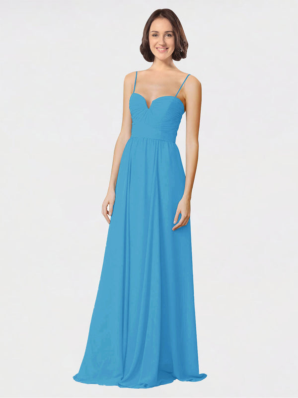 Mila Queen Krista Bridesmaid Dress Peacock Blue - A-Line Sweetheart Spaghetti Straps Long Bridesmaid Gown Krista in Peacock Blue