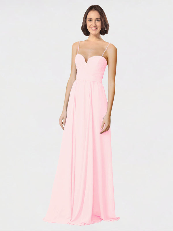 Mila Queen Krista Bridesmaid Dress Pink - A-Line Sweetheart Spaghetti Straps Long Bridesmaid Gown Krista in Pink