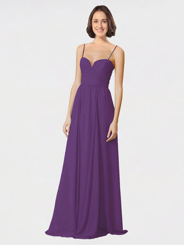 Mila Queen Krista Bridesmaid Dress Plum Purple - A-Line Sweetheart Spaghetti Straps Long Bridesmaid Gown Krista in Plum Purple