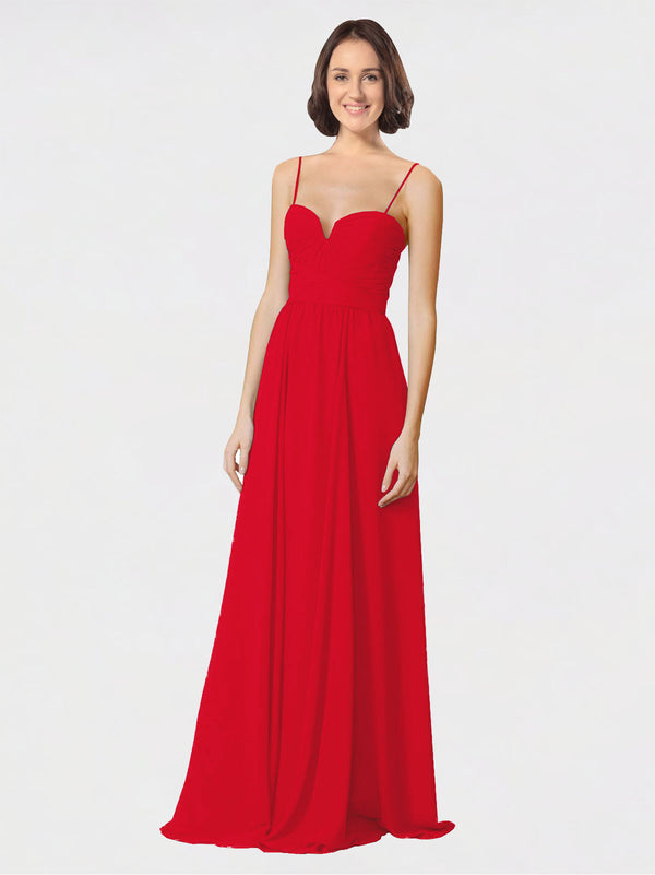 Mila Queen Krista Bridesmaid Dress Red - A-Line Sweetheart Spaghetti Straps Long Bridesmaid Gown Krista in Red