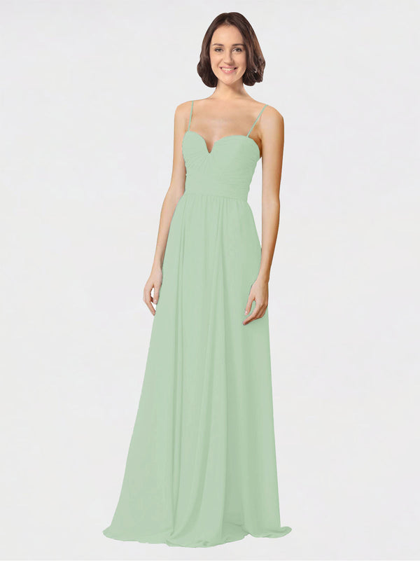 Mila Queen Krista Bridesmaid Dress Sage - A-Line Sweetheart Spaghetti Straps Long Bridesmaid Gown Krista in Sage